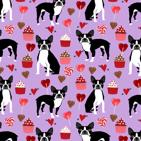 boston terrier valentines fabric love hearts cupcakes valentines day fabric border collies lilac fabric