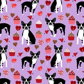 boston terrier valentines fabric - love hearts cupcakes valentines day fabric border collies - lilac