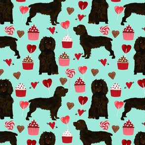 boykin spaniel valentines fabric - love hearts cupcakes valentines day fabric border collies - aqua