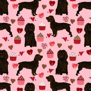 boykin spaniel valentines fabric - love hearts cupcakes valentines day fabric border collies - blossom