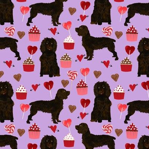 boykin spaniel valentines fabric - love hearts cupcakes valentines day fabric border collies - lilac