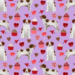 brittany spaniel valentines fabric - dog love cupcakes hearts fabric brittany spaniels - lilac