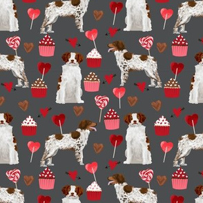 brittany spaniel valentines fabric - dog love cupcakes hearts fabric brittany spaniels - shadow grey