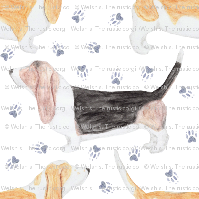 Watercolor Basset hounds and pawprints - small