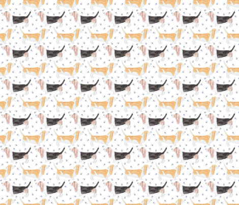Watercolor Basset hounds and pawprints - small fabric by rusticcorgi on Spoonflower - custom fabric