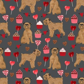 brussels griffon valentines fabric - dog love cupcakes hearts fabric brussels griffon - shadow