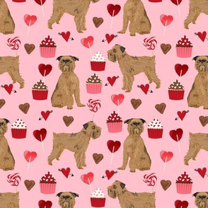 brussels griffon valentines fabric - dog love cupcakes hearts fabric brussels griffon - blossom