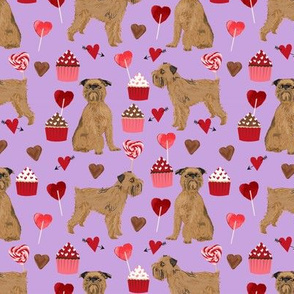 brussels griffon valentines fabric - dog love cupcakes hearts fabric brussels griffon - lilac