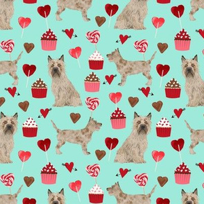 cairn terrier valentines fabric - dog love cupcakes hearts fabric terrier dog - aqua