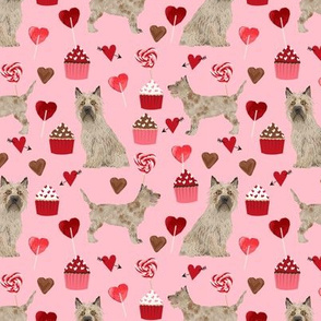 cairn terrier valentines fabric - dog love cupcakes hearts fabric terrier dog - blossom