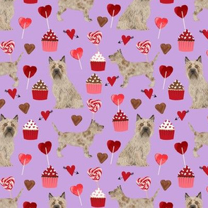 cairn terrier valentines fabric - dog love cupcakes hearts fabric terrier dog - lilac