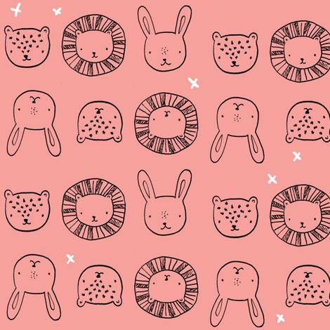 animal_friends__peach fabric by emilyhamiltonillustration on Spoonflower - custom fabric