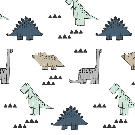 dinos (small scale) - neutrals fabric by littlearrowdesign on Spoonflower - custom fabric