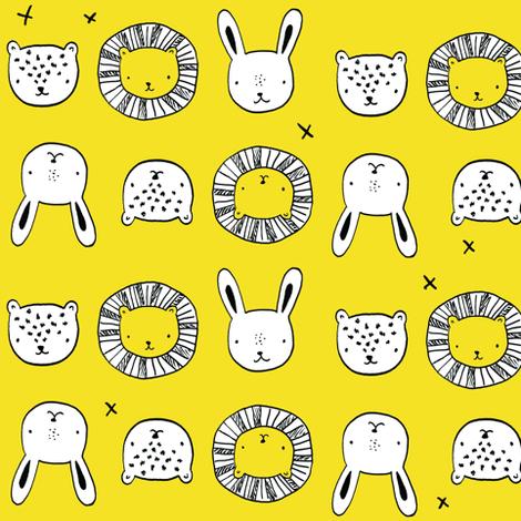 animal_friends__yellow fabric by emilyhamiltonillustration on Spoonflower - custom fabric