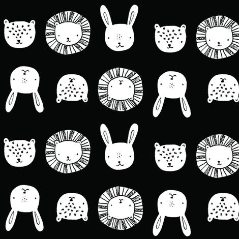 animal_friends__black_and_white fabric by emilyhamiltonillustration on Spoonflower - custom fabric
