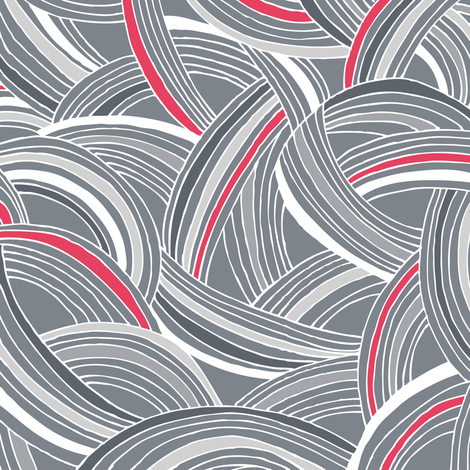 Flight Pattern - Modern Geometric Lines Slate Grey & Bright Pink fabric by heatherdutton on Spoonflower - custom fabric