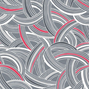 Flight Pattern - Modern Geometric Lines Slate Grey & Bright Pink