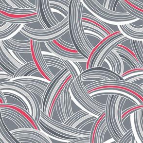 Flight Pattern - Modern Geometric Lines Slate Grey & Bright Pink