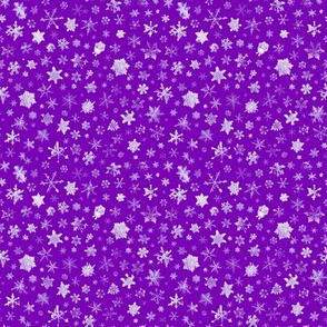 photographic snowflakes on royal purple (small snowflakes)