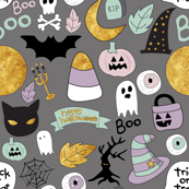 Pastel Halloween Grey Small Scale