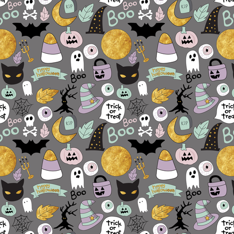 "4"" Pastel Halloween Grey fabric by greenmountainfabric on Spoonflower - custom fabric"