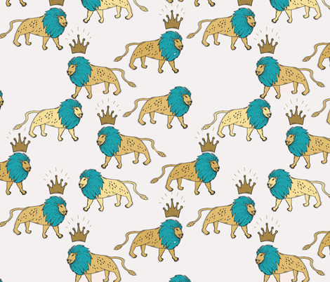 leo_lion_gold_and_turquoise_reduced fabric by holli_zollinger on Spoonflower - custom fabric