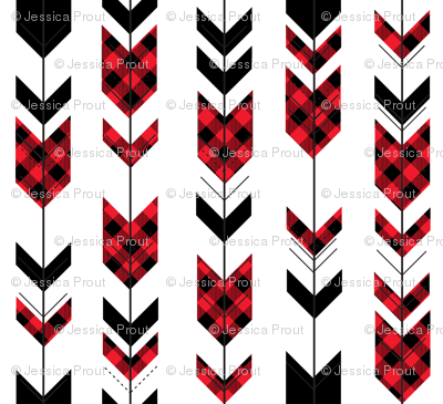 buffalo plaid arrows (small scale) || custom red