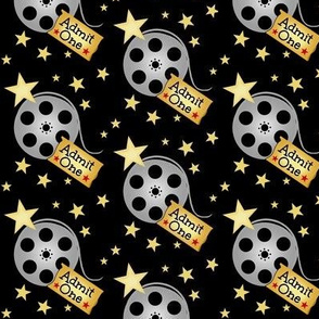 VIP Movie Night / Theater Pop-Corn   starry back on black  Movie Reels and Tickets