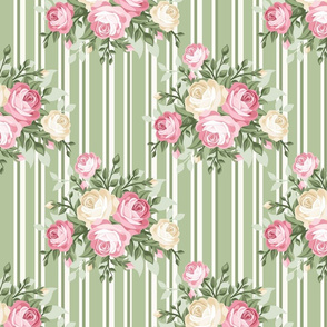 Pretty Shabby Chic Rose Green