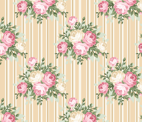 Pretty Shabby Chic Rose Beige fabric by thatsgraphic on Spoonflower - custom fabric