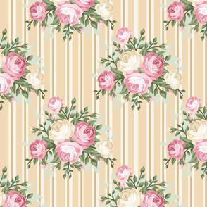 Pretty Shabby Chic Rose Beige