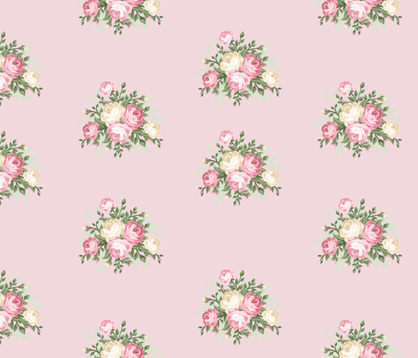 Pretty Shabby Chic Small Rose Pink fabric by thatsgraphic on Spoonflower - custom fabric