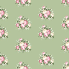 Pretty Shabby Chic Small Rose Green