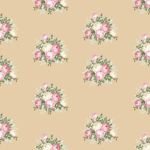 Pretty Shabby Chic Small Rose Beige