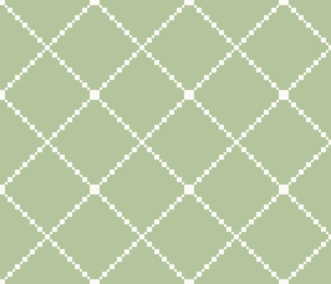 Pretty Shabby Chic Green and White Diamond Pattern fabric by thatsgraphic on Spoonflower - custom fabric