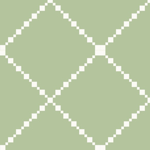 Pretty Shabby Chic Green and White Diamond Pattern