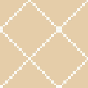 Beige and White Diamond Pattern