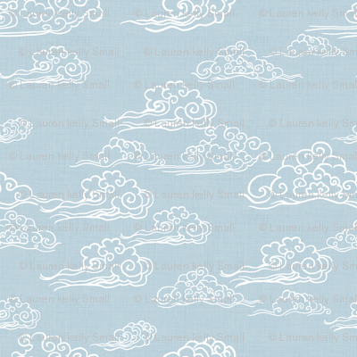 Cloud Streaked Skies Powder Grey Blue