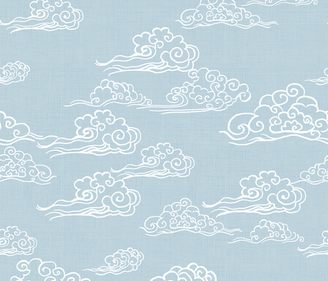 Cloud Streaked Skies Powder Grey Blue fabric by thistleandfox on Spoonflower - custom fabric