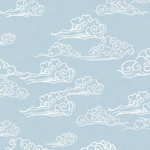 Cloud Streaked Skies Powder Grey Blue