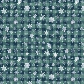 small snowflakes on dark ski gingham