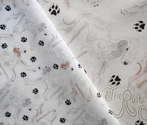 Trotting Bedlington Terriers and paw prints - tiny white