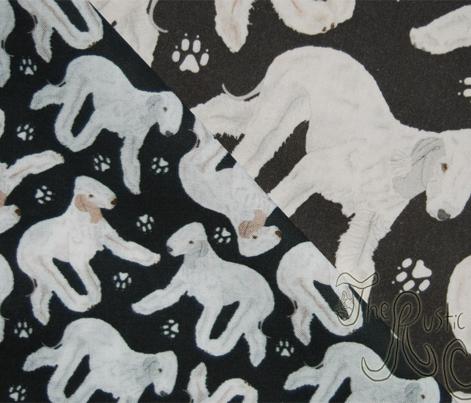 Trotting Bedlington Terriers and paw prints - tiny black