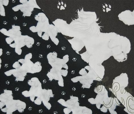 Trotting Bichon Frise and paw prints - tiny black