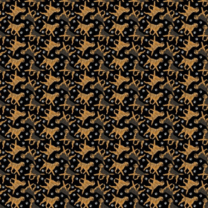 Trotting Border Terriers and paw prints - tiny black