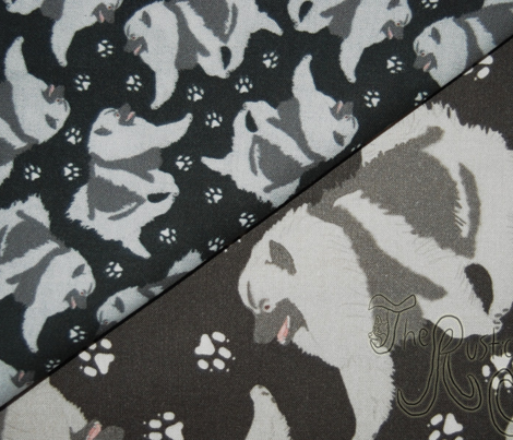 Trotting Keeshond and paw prints - tiny black