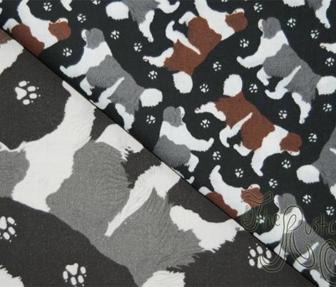 Trotting Newfoundlands and paw prints B - tiny black