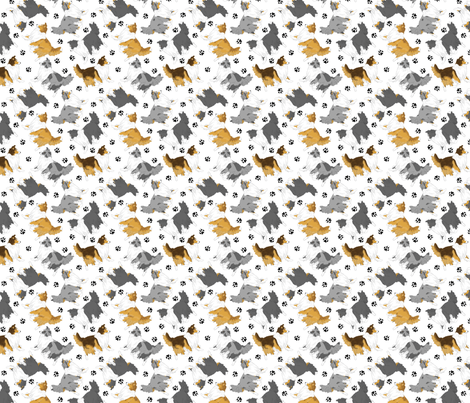 Trotting Shelties and paw prints - tiny white fabric by rusticcorgi on Spoonflower - custom fabric