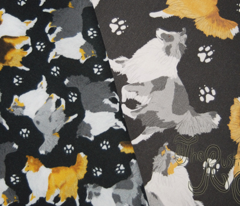 Trotting Shelties and paw prints - tiny black