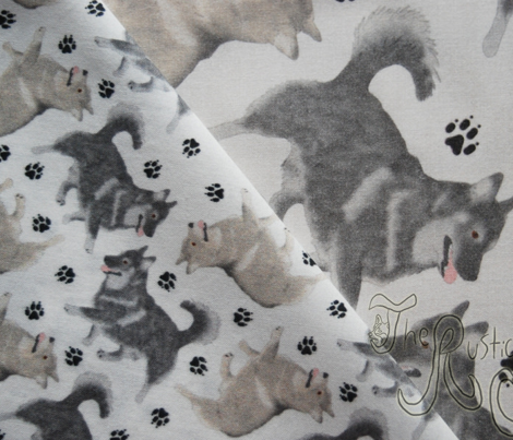 Trotting Swedish Vallhund and paw prints - tiny white
